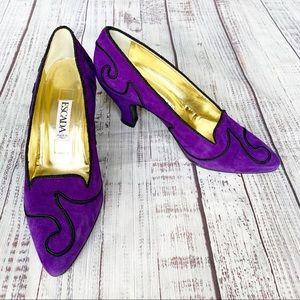 Escada Vintage Embroidered Suede Heels
